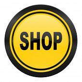 shop icon, yellow logo,