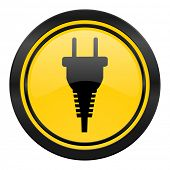 plug icon, yellow logo, electric plug sign