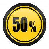 50 percent icon, yellow logo, sale sign