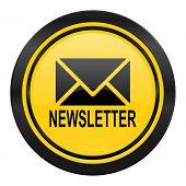newsletter icon, yellow logo,