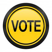 vote icon, yellow logo,