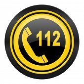 emergency call icon, yellow logo, 112 call sign