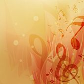 Shiny abstract background with musical notes.
