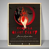 Stylish flyer for night party zombie's hand, slogan, address bar and mailer.
