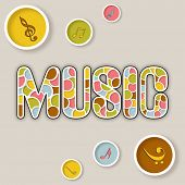 Stylish text of Music with musical notes icon on light beige background.