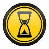 time icon, yellow logo, hourglass sign