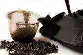 Teapot And Tea Leaves