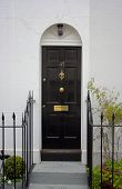 stock photo of front door  - Black front door  - JPG
