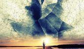 A Man Walks To The Sun Under Digital 3D Wire-frame Sky