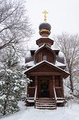 Wooden Chapel At The Holy Spring Of St Sava Storozhevsky In Winter Time