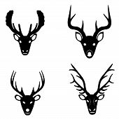 Collection of silhouettes of deer heads
