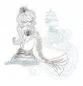 Beautiful Mermaid - Doodle Illustration