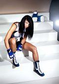 Beautiful Brunette Woman Boxer