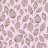 Seamless stylized hand drawn leaf pattern with ornament.Texture with leaves in pink pastel backdrop