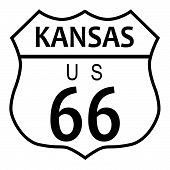 stock photo of kansas  - Route 66 traffic sign over a white background and the state name Kansas - JPG