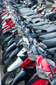 Many motorbikes on street parking