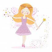 Cute fairy girl with stars vector