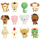 stock photo of chinese zodiac animals  - the animal in the chinese zodiac astrology - JPG