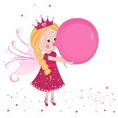 Cute fairy tale inflating a balloon vector