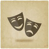 stock photo of comedy  - comedy and tragedy masks old background  - JPG