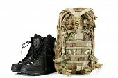picture of army  - Black army boots and backpack - JPG