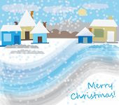 Christmas village in the snow (Christmas card)