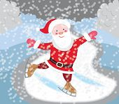 Santa Claus skating (Christmas card)