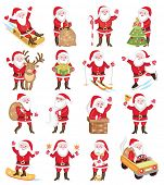 Set of christmas icons with Santa Claus