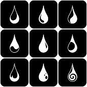 Set of water drops