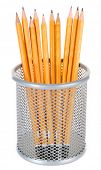 Wooden pencils in metal vase isolated on white background