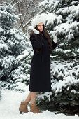 Cheerful Woman In Snowy Weather