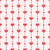 Abstract Seamless Pattern With Hearts. Retro Style