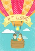 Boy and girl in love in a hot air balloon