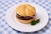 Hamburger On Plate, White Blue Checkered Tablecloths