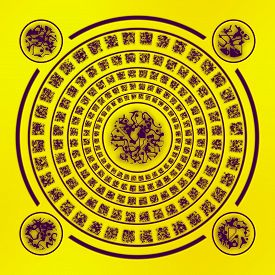 image of rune  - Abstract brown runes in circle on yellow background - JPG
