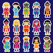 stock photo of superhero  - Collection of Diverse Group of Superhero Girls - JPG