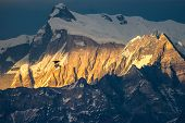 picture of glider  - glider flying at sunset Himalaya mountains Nepal - JPG