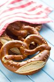 picture of pretzels  - baked pretzels on kitchen table - JPG