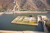 stock photo of rajasthani  - The Kesar Kyari Bagh garden in the Maota lake just below the Amber fort near Jaipur in Rajasthan India - JPG