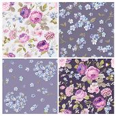 Set of Spring Flowers Backgrounds - Seamless Floral Shabby Chic Pattern - in vector poster