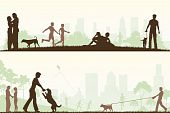 stock photo of dog-walker  - Two editable vector designs of city parks with all elements as separate editable objects - JPG