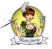 foto of cabaret  - Retro Party label with  Flapper Girl - JPG