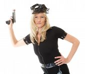 picture of handgun  - blonde female policewoman cop posing with gun handgun isolated on white background - JPG