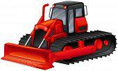 image of bulldozer  - Close up red bulldozer with simple design - JPG