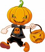 Pumpkin Head Boy With Halloween Bag