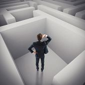 pic of maze  - Businessman in trouble lost in a maze - JPG