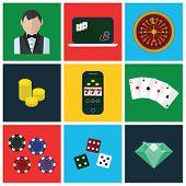 stock photo of poker machine  - Colorful modern vector flat icons - JPG