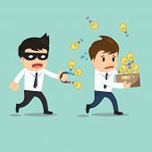 stock photo of stealing  - Businessman run thief use magnet stealing idea vector illustration - JPG