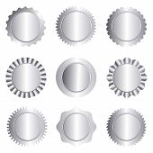 image of rosettes  - Set of different silver approval seal stamp badge and rosette shapes isolated on white - JPG