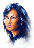 picture of face painting  - Young woman portrait with long dark hair and blue eye color painting white background - JPG